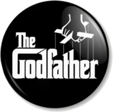 The Godfather Pinback Button Badge Gangster Novel Movie Puppet Strings Christening Humour Fun